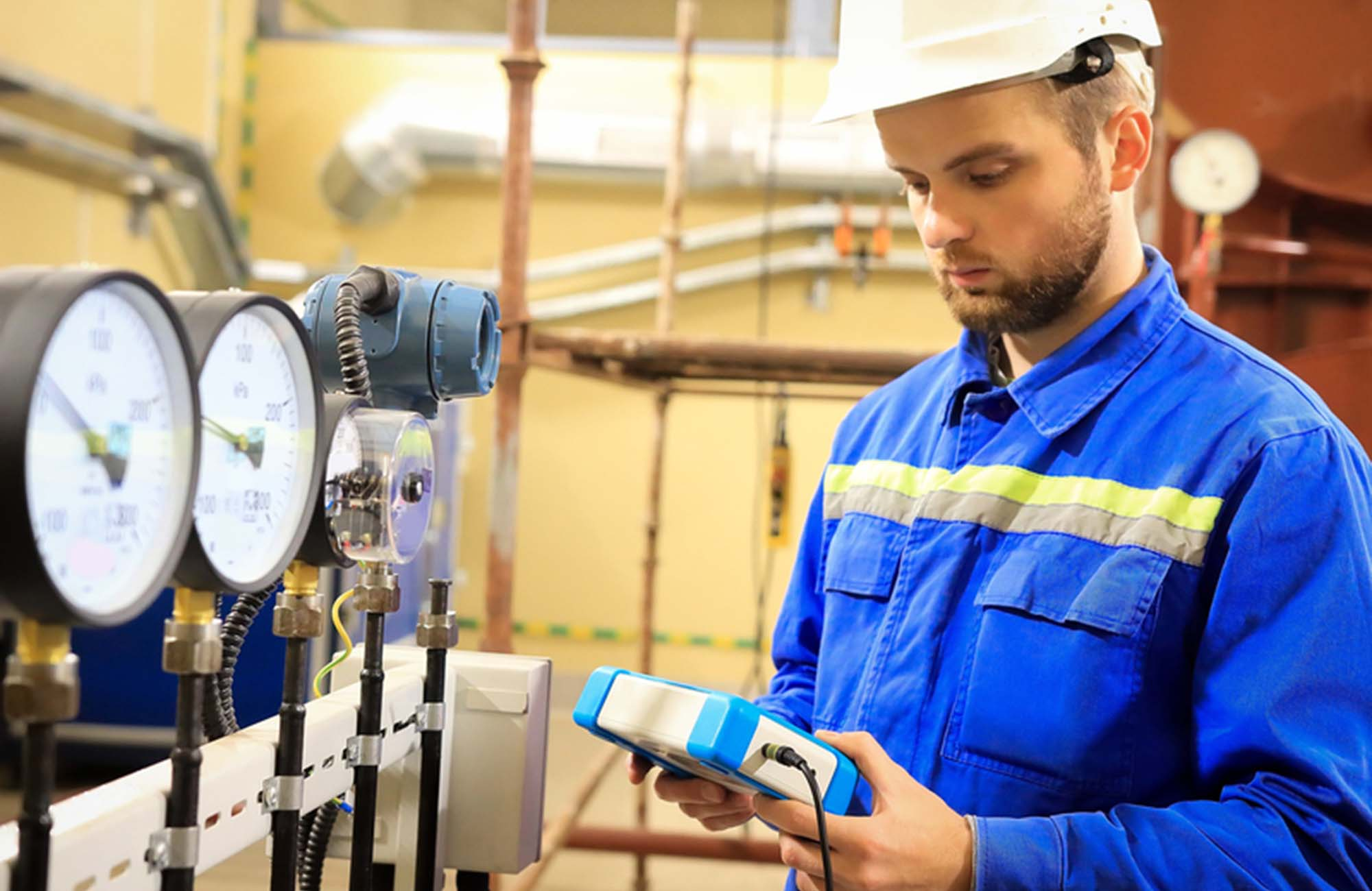 Maintenance engineer controls a work technological process and